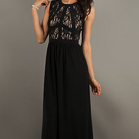 Long Sleeveless Lace Dress by Morgan and Company