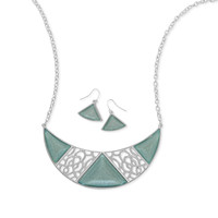 Ornate Aqua Crescent Shape Fashion Necklace and Earring Set