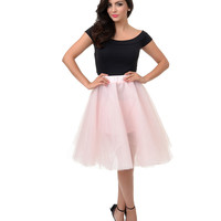 Blush High Waisted Tulle Ballerina Swing Skirt
