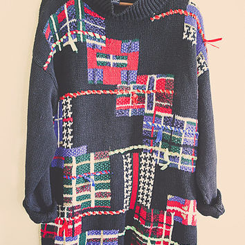 90's Cute Ugly Christmas Sweater Green Red Purple  black Gifts Gold Glitter Bows Tacky Tunic Women's 1 X Large Extra Large