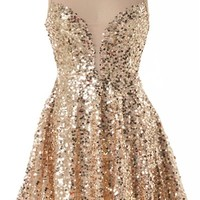 Priceless Moment Dress | Gold Sequin Fit and Flare Party Dresses | Rickety Rack