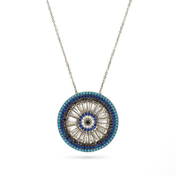 Evil Eye Boho Style Pave Necklace Silver 925