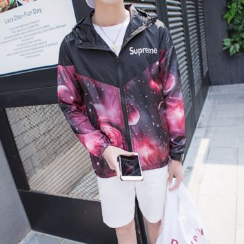 Supreme spring and summer clothing men and women ultra-thin hooded sportswear long-sleeved jacket coat