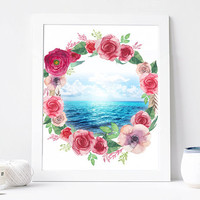 Sea Flower Wreath, Peony, Sun, Watercolor Sea Digital Print, Wall Decor, Typography, Water, Aqua, Ocean, Travel, Home Decor, Poster Art