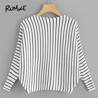 ROMWE Black And White Striped Round Neck Sweater Women Casual Autumn Long Sleeve Jumper Clothes Ladies Spring Pullovers Sweater