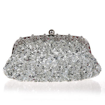 Silver sequins & silk Bridal clutch with crystal, wedding clutch, wedding purse