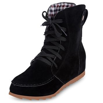 Trendy Round Toe Lace-up Elevator Shoes Women Ankle Boots