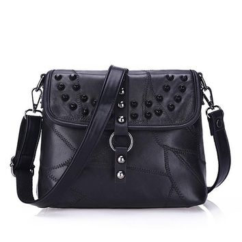 Spike On Studded Genuine Leather Crossbody Bag