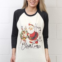 Vintage Have a Jolly Christmas Raglan {Grey}