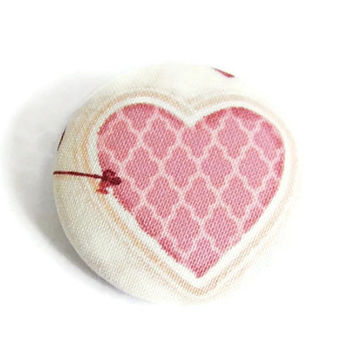 Heart brooch pin fabric button purse handbag accessory Valentines day gift for her pink off white romantic shabby chic