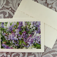 LILAC Floral, Handmade Greeting, Purple, Romantc, Photo Greeting Card, Coordinating Envelope