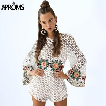 Aproms White Crochet Lace Embroidery Rompers Womens Jumpsuit Summer Flare Sleeve Loose Playsuit Cute Overalls for Women Clothing