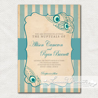 Peacock Feather Invitation / Printable Birthday by lemonademoments