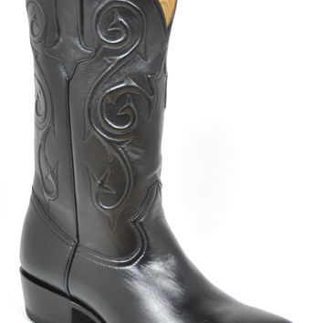 Gavel Handcrafted Men's Black Goatskin Cowboy Boots