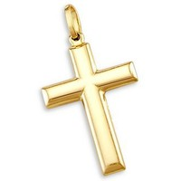 14k Yellow Gold Cross Crucifix Pendant Charm Plain 1""