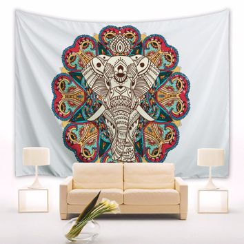 Datura White Elephant Tapestry 100% Polyester Printing For Wall Hanging Curtain Bedroom Decoration