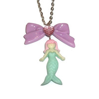 Kawaii Mermaid Necklace, Pastel Cute Jewelry Fairy Kei, Mint Green