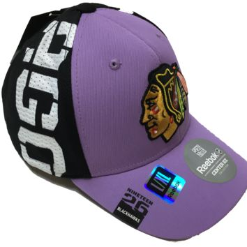 Chicago Blackhawks NHL16 Hockey Fights Cancer Draft Hook Flex Fit Hat By Reebok