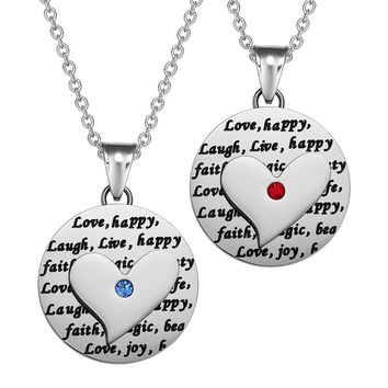 Heart Inspirational Medallions Live Laugh Love Couples or Best Friends Amulets Royal Red Blue Necklaces