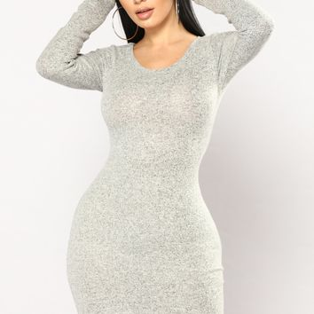 Soft Quiet Music Sweater Dress - Heather Grey