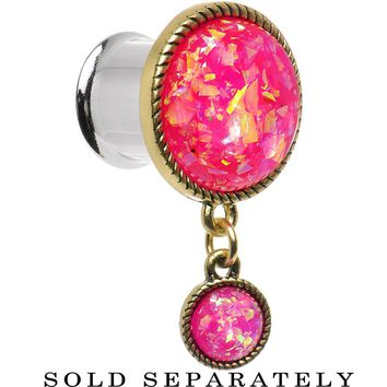 13mm Double Pink Imitation Opal Dangle Plug