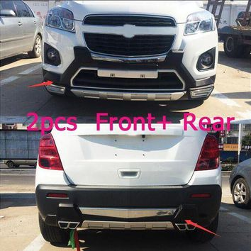 CREYLD1 lane legend case For Chevrolet TRAX 2014-2016 Front+ Rear Bumper Diffuser Bumpers Lip Protector Guard skid plate Chrome finish