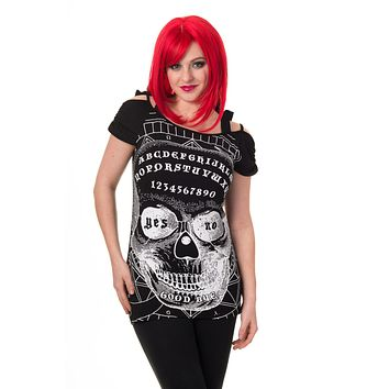 Goth Culture Ouija Skull Dark Magic Skull Face Cut Out Open Shoulder Top
