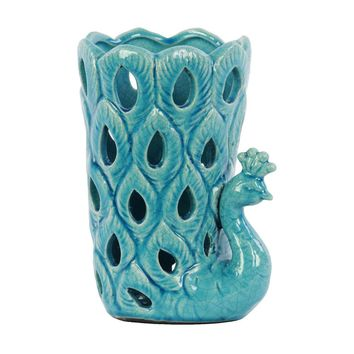 Ceramic Gloss Finish Turquoise Cutout Sides Peacock Figurine Vase