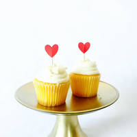 Red heart shaped cupcake topper