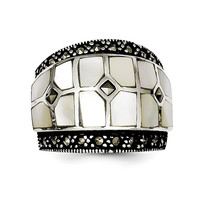 Sterling Silver Marcasite & Mother of Pearl Ring QR1471