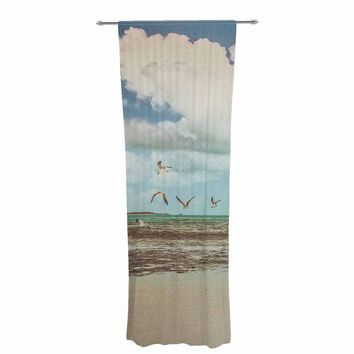 "Mary Carol Fitzgerald ""Free To Fly - Seagulls"" Blue Beige Photography Decorative Sheer Curtain"