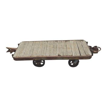 Pre-owned Vintage Industrial Trolley Cart Coffee Table