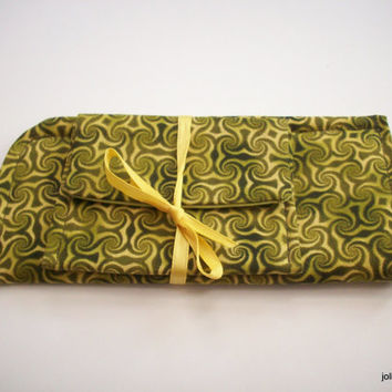 Tribal Olive Green Swirl Eyeglass Case with Mini Pocket  Matching Gift Set