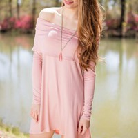 Wish Upon My Heart Off Shoulder Dress- Blush