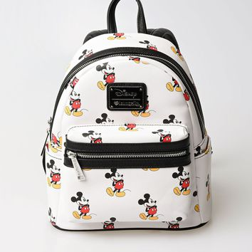 Ivory Leatherette Mickey Mouse Character Mini Backpack