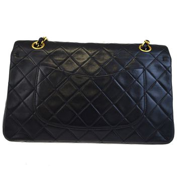 Auth CHANEL CC Matelasse Double Flap Quilted Chain Shoulder Bag Leather 613ED086