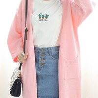 Pink Long Sleeve Pocket Detail Cardigan