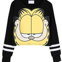 Garfield Cat Print Cropped Sweatshirt - OASAP.com
