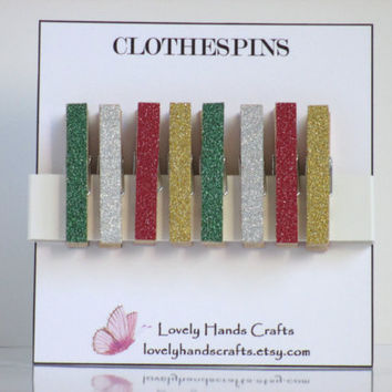 Mini Wooden Christmas Clothespins, Glitter Tape , Set of 8