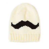 Ivory Slouchy Mustache Beanie