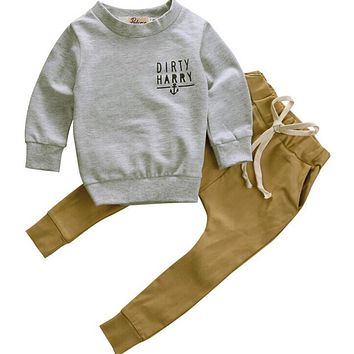 2pcs Newborn Toddler Kids Baby Boy Clothes T-shirt Tops+Long Pants Outfits Set kids clothes boys toddler boys clothing 2016 new