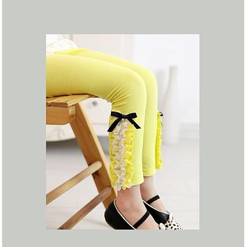 Girl's Candy Color Laced Leg Leggings