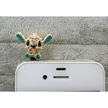Dust Plug- Earphone Jack Accessories Crystel lake blue Disney Stitch / Cell Charms / Ear Jack for Iphone 4 4s / Ipad / Ipod Touch / Other 3.5mm Ear Jack (With Cutely Gift Box)---------FREE Shipping From USA,Takes about 2 - 6 working days for delivery--1pc