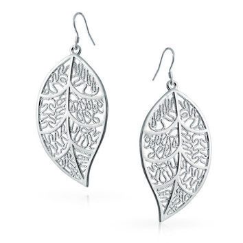 925 Sterling Silver Large Filigree Leaf Earrings Jewelry