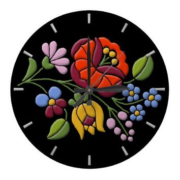 Kalocsa Embroidery - Hungarian Folk Art Round Clocks from Zazzle.com