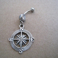 Silver Compass Charm Belly Button Ring, Crystal Belly Ring,