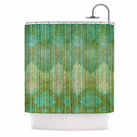 "Michelle Drew ""Vintage Ikat Green Gold"" Gold Green Shower Curtain"