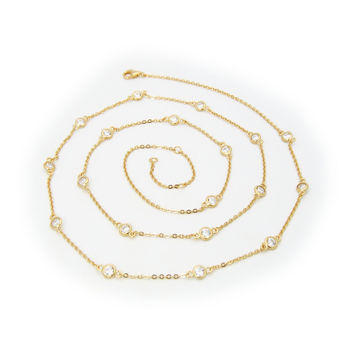 """18k Gold Plated Sterling Silver CZ by the Yard Necklace, 24"""""""