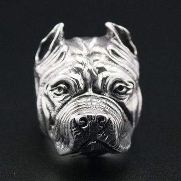 Pit Bull Dog Solid Stainless Steel Mens Biker Ring