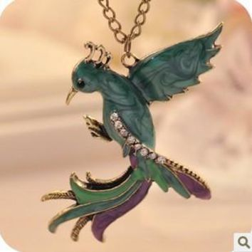 Vintage Phoenix Gem Enamel Pendant Necklace Glazed Peacock Bird Long Necklace Women Crystal Jewelry Christmas Gifts